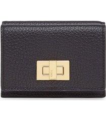 fendi textured trifold wallet - black