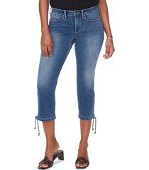 women's nydj high waist drawcord hem capri jeans, size 16 - blue