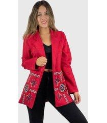 blazer bordado boho chic rojo enigmática boutique
