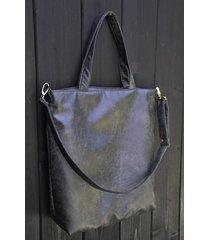 torba shopper xl - grafit, rustykalna ekoskóra