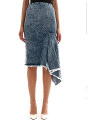 balenciaga denim skirt with godet