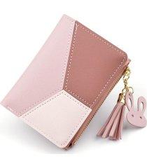 billetera mujer corta cuero poliester b393 rosado