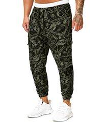 paper money print drawstring pencil pants