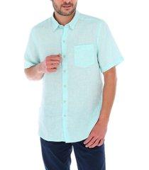 camisa lino linenshort celeste rockford