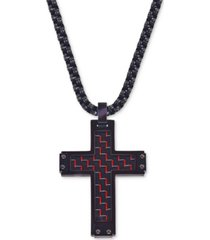 esquire men's jewelry cross pendant necklace in red carbon fiber and black ip stainless steel, created for macy's