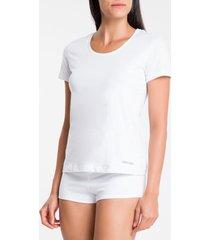kit 2 camisetas m/c meia malha - branco - m