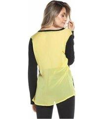 blusa tricot com costas de tecido feminina - feminino