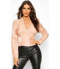 glinsterende blouse met rits aan de voorkant en corsetdetails, roze