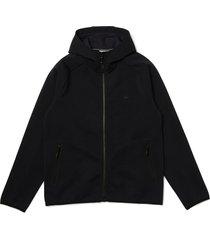 men's lacoste men's stretch cotton blend zip hoodie, size 7 - blue