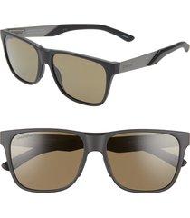 men's smith lowdown steel 56mm chromapop(tm) polarized square sunglasses - matte black ruthenium