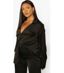 plus satijnen blouse met zoom detail, black