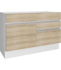 balcão gabinete de pia madesa glamy 1 porta e 2 gavetas - branco/saara branco