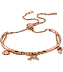 "unwritten cubic zirconia ""life's a beach"" dolphin, sandal and sun rose gold tone plated silver adjustable bolo bracelet"