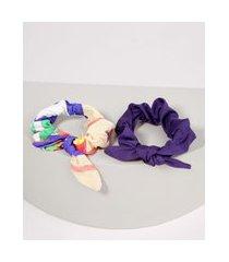 kit feminino de 2 elásticos de cabelo com laço multicor