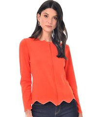 sueter para mujer en jersey blanco color naranja talla xs