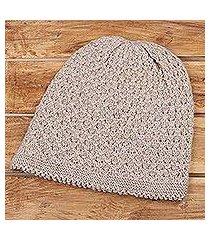 wood blend hat, 'himalayan comfort in ecru' (india)
