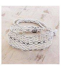 cotton macram headband, 'eyelets' (costa rica)