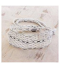 cotton macramé headband, 'eyelets' (costa rica)