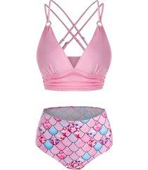 mermaid print strappy ruched padded bikini set