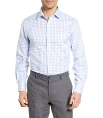men's big & tall nordstrom men's shop traditional fit non-iron check dress shirt, size 17 - 36/37 - blue