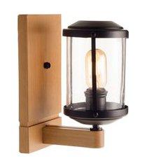 arandela urban 1 lâmpada madelustre metal e vidro castanho