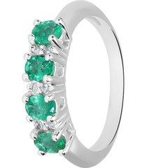anello in oro bianco, smeraldo 0,65 ct e diamanti 0,07 ct per donna