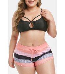 colorblock stripes harness keyhole plus size bikini swimsuit