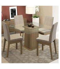 conjunto sala de jantar madesa laila mesa tampo de vidro com 4 cadeiras rustic/fendi