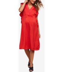 motherhood maternity flutter-sleeve dress