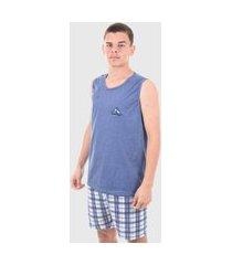 conjunto pijama masculino shorts regata adulto confortável azul