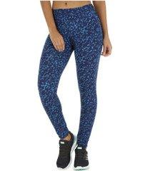 calça legging oxer estampa onzi - feminina - azul esc/azul