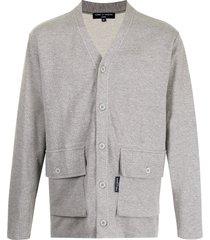 comme des garçons homme cotton sweatshirt-style cardigan - grey