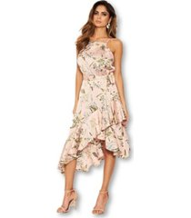 ax paris women's floral printed wrap frill midi dress
