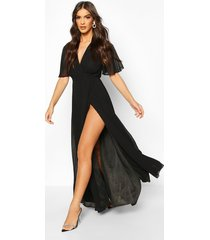 chiffon angel sleeve maxi dress, black