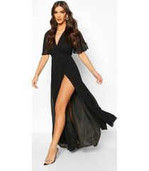 chiffon angel sleeve wrap maxi bridesmaid dress, black