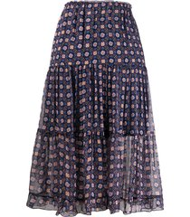 see by chloé pull-on tiered midi skirt - blue