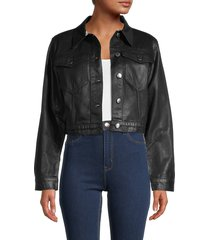 frame women's cropped cotton jacket - black coated - size s