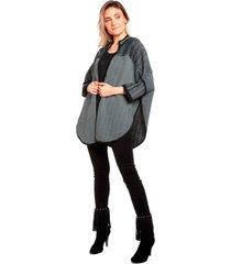 casaco ralm tricot zig zag cinza com preto