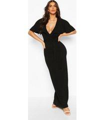 maxi-jurk met riem en boothals, zwart