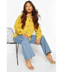 oversized mock horn button cord shirt, mustard