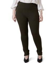 plus size women's maree pour toi skinny compression knit pants, size 12w - green