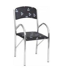 cadeira de cozinha lenor cromada e preta