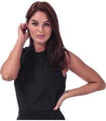 french connection womens crepe light jersey sleeveless top size 14 in black