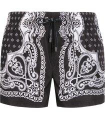 dolce & gabbana bandana print swimming shorts - black