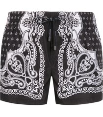 dolce & gabbana bandana print swimming shorts - black