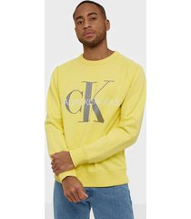calvin klein jeans vegetable dye monogram crew neck tröjor yellow