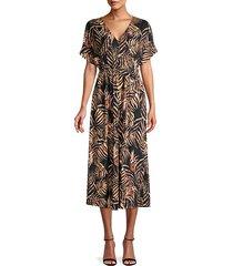 palm leaf-print midi dress