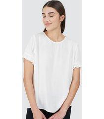 blusa mujer con encaje en manga color blanco, talla 10