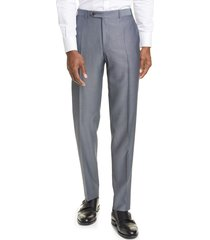 men's canali classic fit flat front wool & mohair dress pants