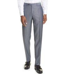 men's canali classic fit flat front wool & mohair dress pants, size 60r eu - grey